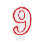 """#9 Red & White 2.5"""" Candle"""