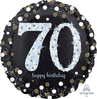 "70 th Sparkling Birthday 28"" Mylar Balloon"