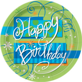 "Bright Birthday 7"" Paper Plate 8 pk"