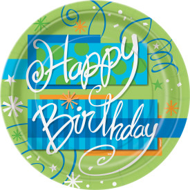 Bright Birthday 9 Paper Plate 8 pk