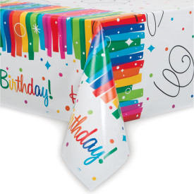"Rainbow Ribbon Birthday Plastic Table Cover 54"" x 84"""