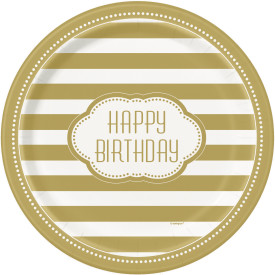 "Happy Birthday Gold Strips 9"" Paper Plate 8 pk"