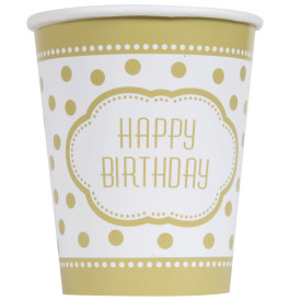 Gold Dot Happy Birthday 9 oz Cup 8pk