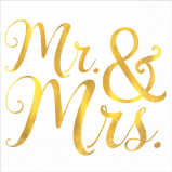 Mr & Mrs Beverage Napkin 16 pcs