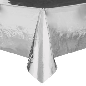 "Silver Plastic Table Cover 54"" x 108"""