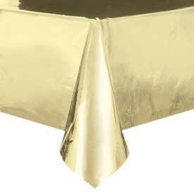 "Gold Plastic Table Cover 54"" x 108"""